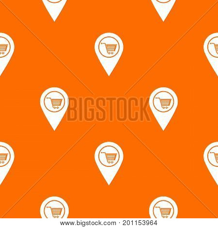 Geo tag with shopping cart symbol pattern repeat seamless in orange color for any design. Vector geometric illustration