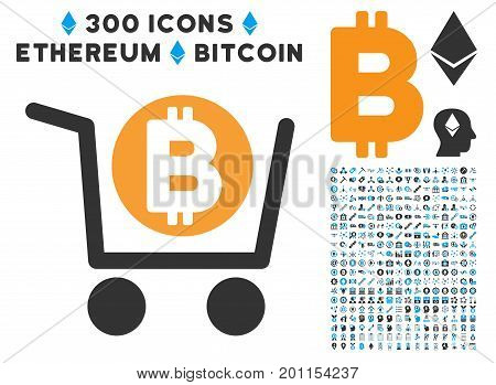 Bitcoin Shopping Cart icon with 300 blockchain, bitcoin, ethereum, smart contract symbols. Vector pictograph collection style is flat iconic symbols.