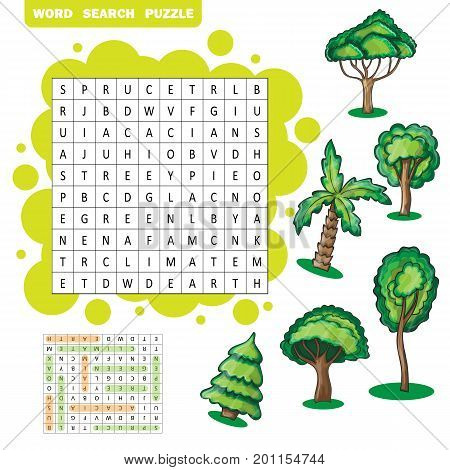 Trees themed zigzag word search puzzle - Answer included