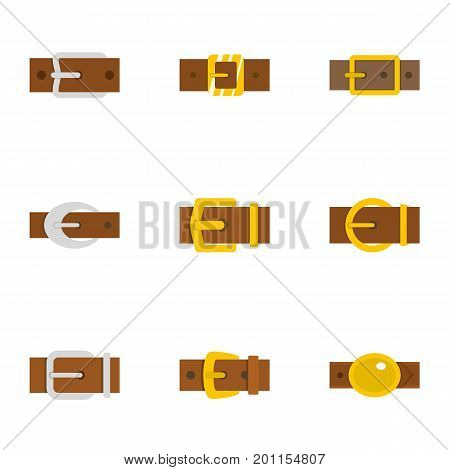 Modern belt buckle icon set. Flat set of 9 modern belt buckle vector icons for web isolated on white background