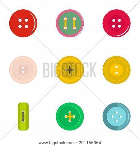 Modern clothes button icon set. Flat set of 9 modern clothes button vector icons for web isolated on white background