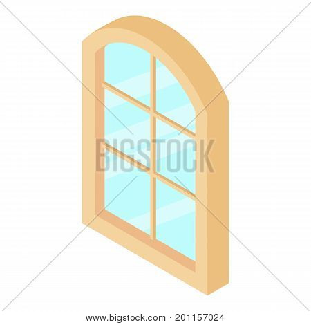 Close window frame icon. Isometric illustration of semicircular window frame vector icon for web