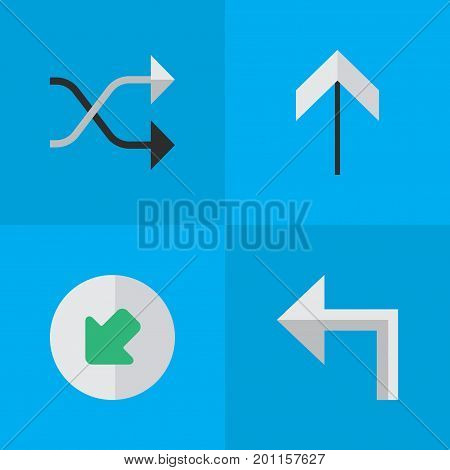 Elements Northwestward, Orientation, Chaotically And Other Synonyms Turn, Upward And Arrow.  Vector Illustration Set Of Simple Indicator Icons.