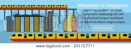 Welcome to singapore banner horizontal concept. Flat illustration of welcome to singapore banner horizontal vector concept for web
