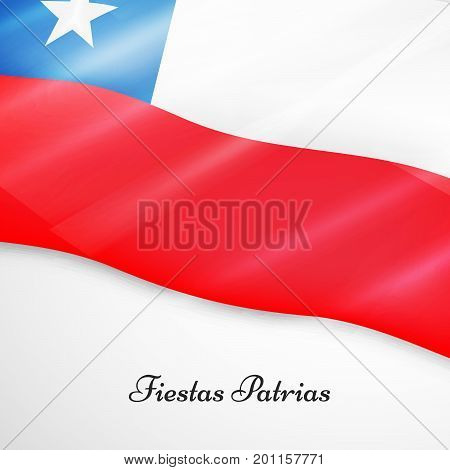 illustration of Chile flag background with Fiestas Patrias text on the occasion of Chile National Holidays. Fiestas Patrias is a Spanish phrase meaning