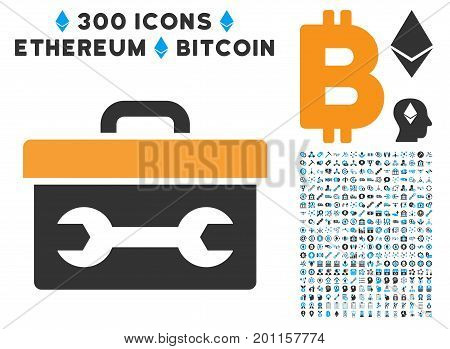 Toolbox pictograph with 300 blockchain, cryptocurrency, ethereum, smart contract images. Vector clip art style is flat iconic symbols.