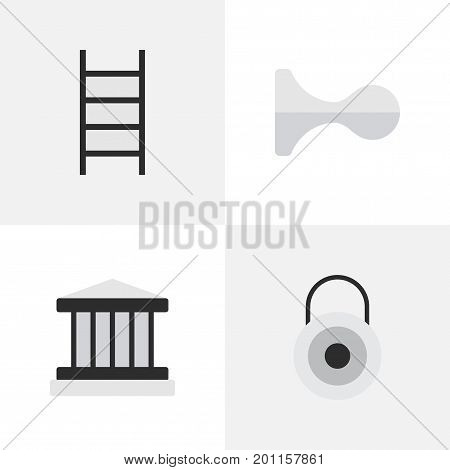 Elements Lock, Grille, Stairs And Other Synonyms Climbing, Key And Lock.  Vector Illustration Set Of Simple Crime Icons.