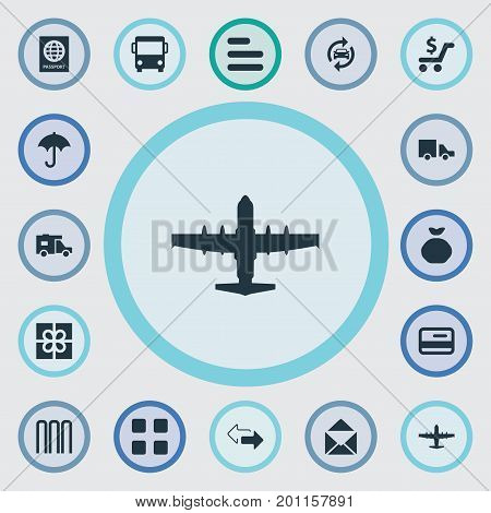 Elements Gift, Mailing, Autobus And Other Synonyms Bank, Outsource And Aviation.  Vector Illustration Set Of Simple Conveyance Icons.