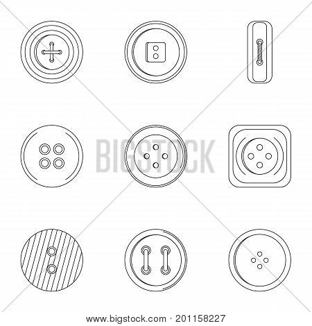 Sewing clothes button icon set. Outline set of 9 sewing clothes button vector icons for web isolated on white background