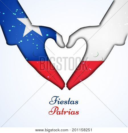 illustration of hand in Chile flag background and heart design with Fiestas Patrias text on the occasion of Chile National Holidays. Fiestas Patrias is a Spanish phrase meaning