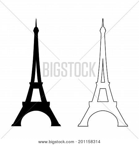 Icon of Eiffel tower on white background. Vector illustration