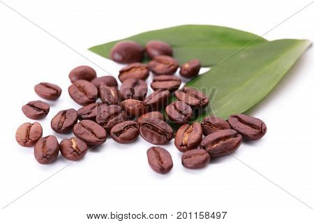 coffee beans and leaves. coffee grains and leaves isolated on white background. Roasted coffee beans and fresh green leaf with blur on the sides
