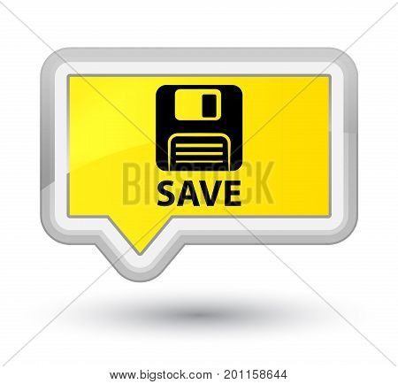 Save (floppy Disk Icon) Prime Yellow Banner Button