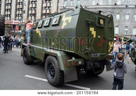 Celebration of the Great Victory near Illovaysk.Downtown of Kiev.Ukrainian army transport..August 22, 2017 Kiev, Ukraine