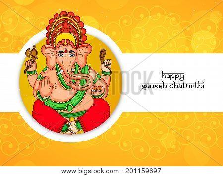 illustration hindu lord Ganesh with happy Ganesh Chaturthi text on the occasion of hindu festival Ganesh Chaturthi