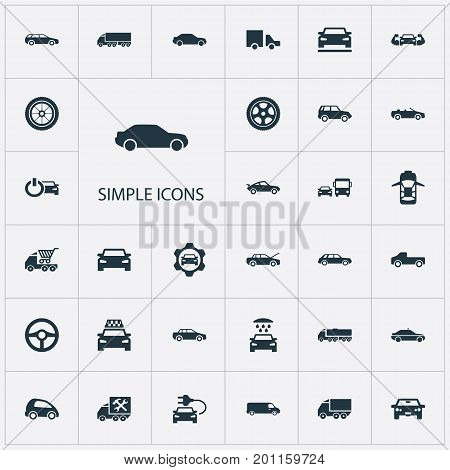 Elements Carriage, Siren, Ride And Other Synonyms Shipping, Transit And Delivery.  Vector Illustration Set Of Simple Car Icons.