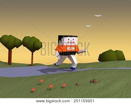 3d illustration of a character running in a park