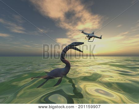 3d illustration of a sea monster and a dron