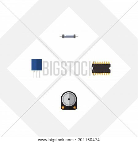 Flat Icon Technology Set Of Resistor, Hdd, Receptacle And Other Vector Objects