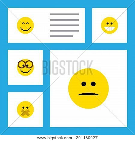 Flat Icon Gesture Set Of Displeased, Grin, Pleasant And Other Vector Objects