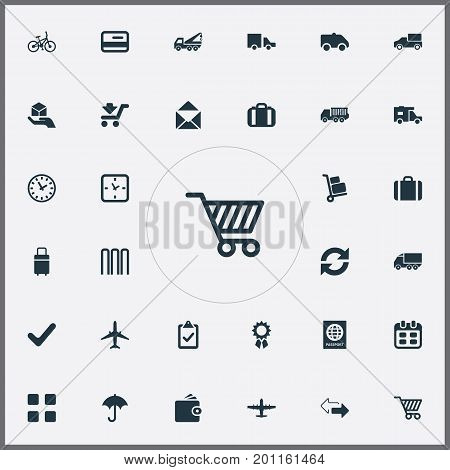 Elements Eviction Vehicle, Mailing, Calendar And Other Synonyms Bag, Hand-Truck And Airport.  Vector Illustration Set Of Simple Handing Icons.