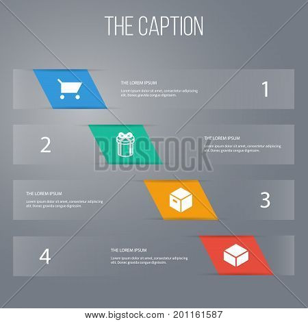 Icon Shopping Set Of Pushcart, Present, Package And Other Vector Objects