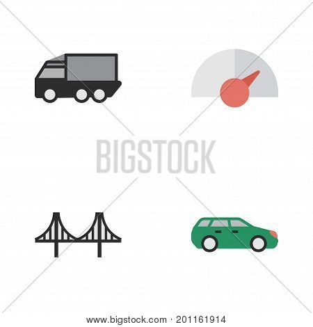 Elements Speed, Bridgework, Sedan And Other Synonyms Lorry, View And Speedometer.  Vector Illustration Set Of Simple Traffic Icons.