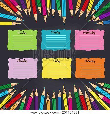 School timetable with multicolored pencils. Vector illustration.
