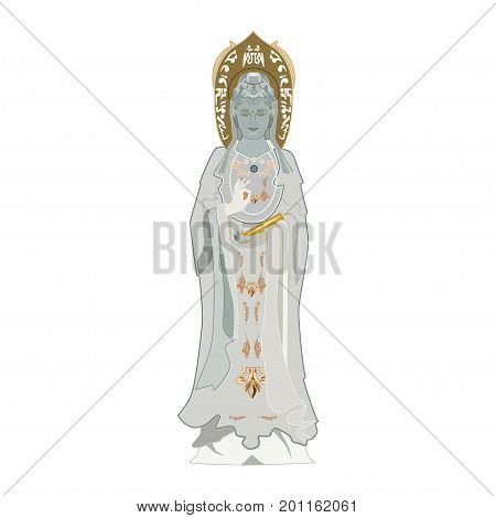 The Goddess of Mercy vector illustration. Chinese Guanyin, flat style design.