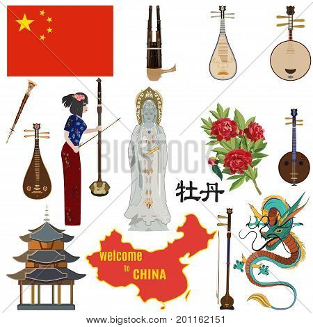 Vector set of chinese symbols. Welcome to China concept design elements, icons in flat style. Guanyin, the Goddess of Mercy, flag, map, dragon, peony flower, ethnic folk musical instruments.