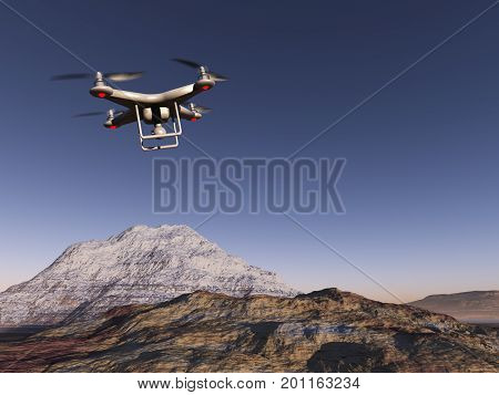 3d illustration of a drone over mountains