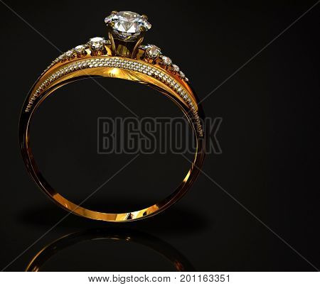 Gold ring with diamond gem jewelry. Luxury jewellery bijouterie with crystal gemstone for people in love . Frontal view and reflection on black background. 3D rendering. Advertising jewelry store.