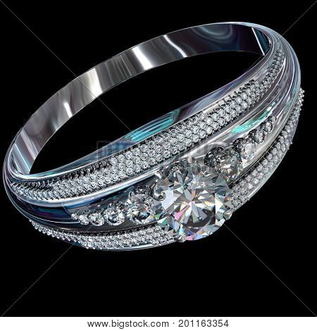 Silver band for engagement with gem. Top view of diamond facetes luxury jewellery bijouterie ring from white gold or platinum with gemstone. 3D rendering on black background. Family values.