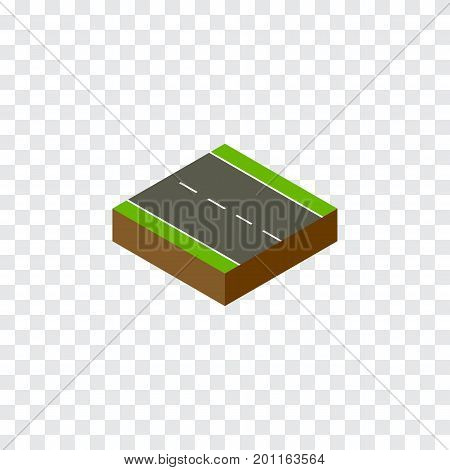 Single-Lane Vector Element Can Be Used For Driveway, Single, Lane Design Concept.  Isolated Driveway Isometric.