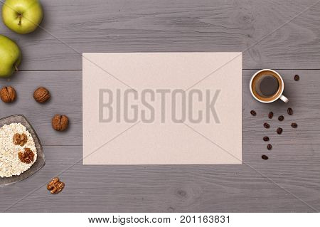 good morning with a cup of coffee and breakfast. Healthy food. Dietetic foods. Delicious breakfast. Post blog social media. View from above with copy space. Banner template layout mockup top view
