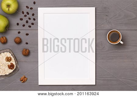 On table food for cooking. Healthy food. Dietetic foods. Delicious breakfast. Post blog social media. View from above with copy space. Banner template layout mockup top view