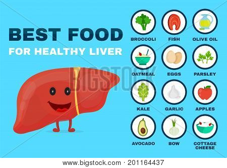 Best food for strong liver. Strong healthy liver character. Vector flat cartoon illustration icon. Isolated on blue backgound. Health food diet products nutrition nutriment infographic concept
