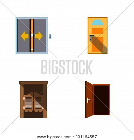 Flat Icon Door Set Of Saloon, Approach, Lobby And Other Vector Objects