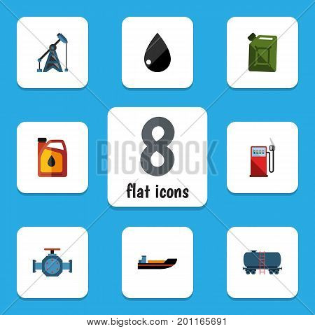 Flat Icon Petrol Set Of Container, Rig, Jerrycan And Other Vector Objects