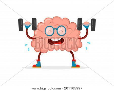 train your brain. brain vector cartoon flat illustration fun character creative design. educationsciencesmartbrain books fitness concept.train lifts with book barbell. isolated on white background