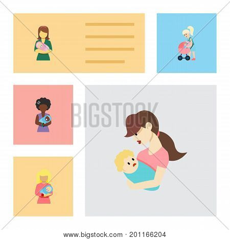 Flat Icon Mother Set Of Mother, Mam, Woman And Other Vector Objects