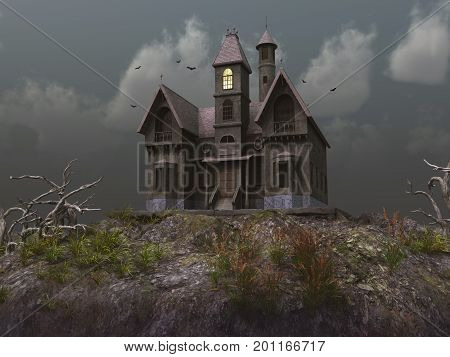 3d illustration of an old haunted house
