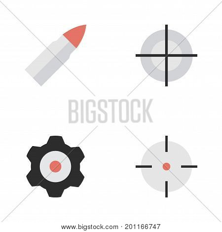 Elements Target, Sniper, Cogwheel And Other Synonyms Cogwheel, Sniper And Shot.  Vector Illustration Set Of Simple Criminal Icons.