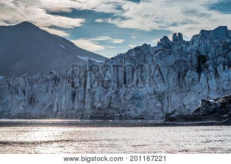 Front of glacier at dusk in Svalbard
