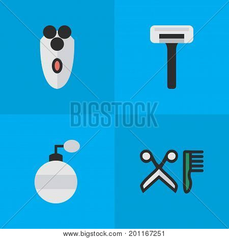 Elements Comb, Shaving Machine, Shaver And Other Synonyms Blade, Machine And Shaver.  Vector Illustration Set Of Simple Shop Icons.