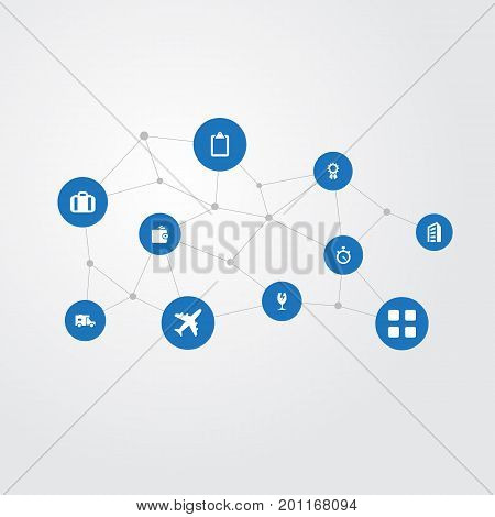 Elements Building, Reward, Travel Suitcase And Other Synonyms Airport, Apartment And Spread.  Vector Illustration Set Of Simple Conveyance Icons.