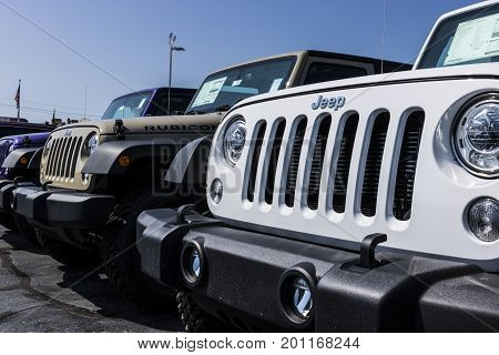 Kokomo - Circa August 2017: Jeep Automobile Dealership. Jeep is a subsidiary of Fiat Chrysler Automobiles. FCA is the parent company of Dodge Chrysler and Ram Trucks V