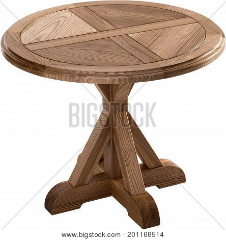 Wooden brown antique table isolated on white background. dining round table. Handmade table, furniture