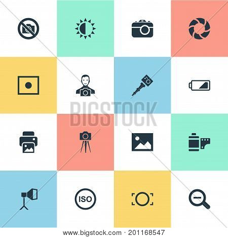 Elements Rustication, Movable Camcorder, Rim And Other Synonyms Portable, Tool And Prohibited.  Vector Illustration Set Of Simple Photographer Icons.