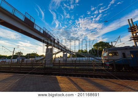 Pedestrian Bridge At The Station..